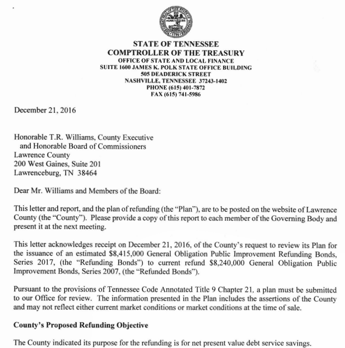 Vehicle Service Department Letter >> ? County Plans to Refund Bonds; Save Taxpayers Over ...